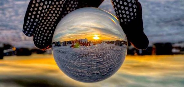 Orb of Ice Fishing Event Sunset