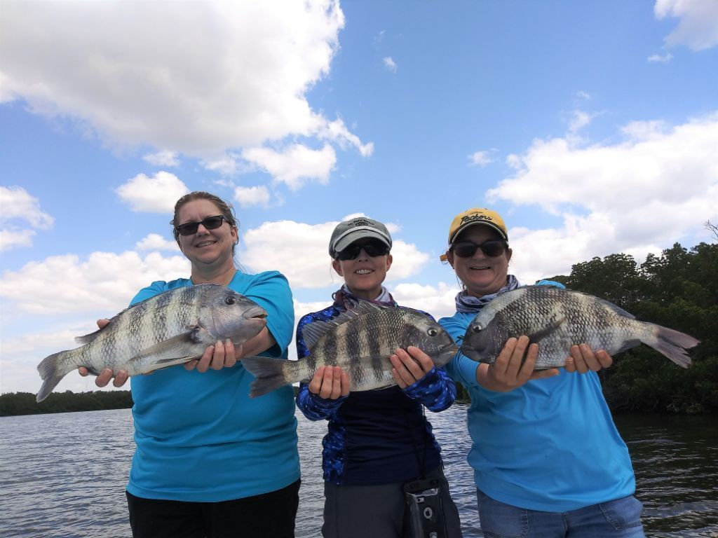 Women Anglers with Sheepshead