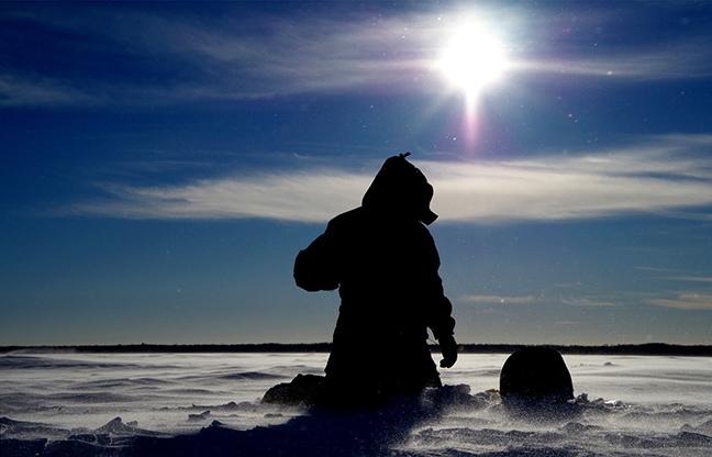 Angler Ice Fishing with Raymarine Electronics