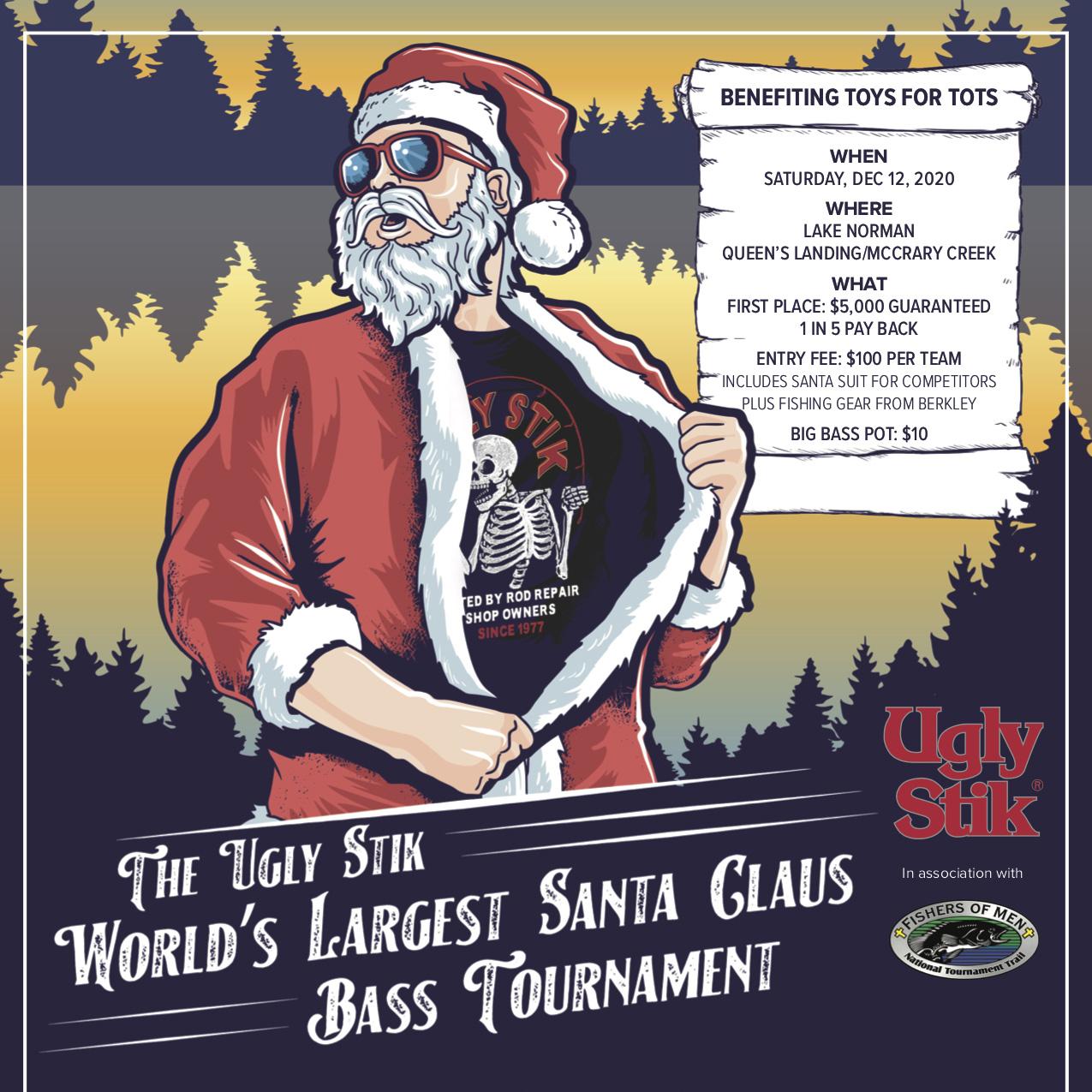 Santa Claus Bass Fishing Flyer