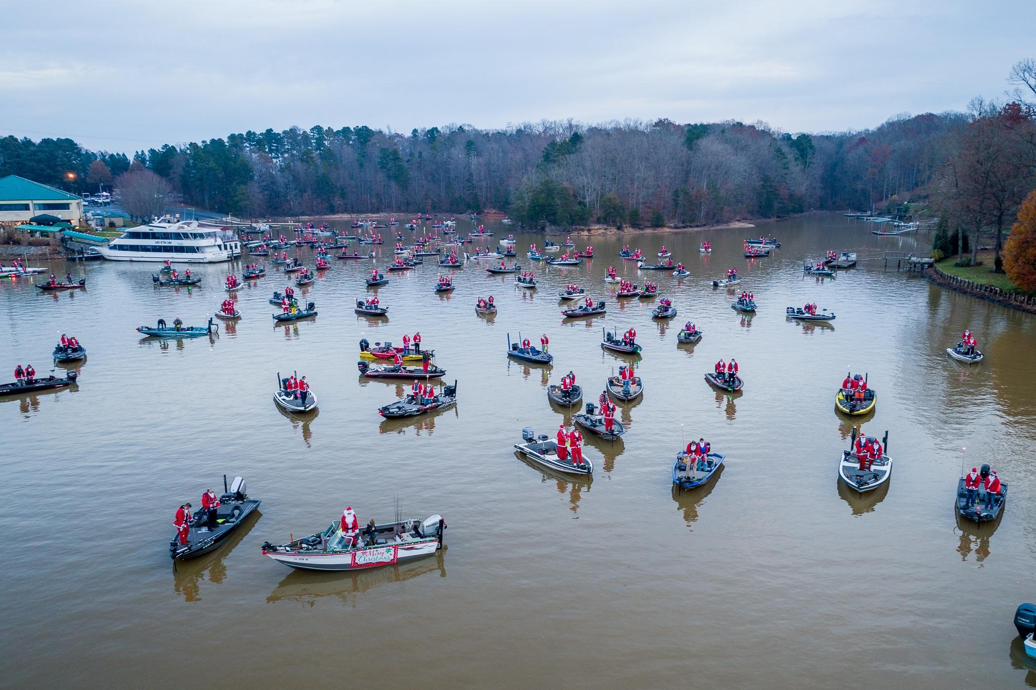 Boats full of fishing santas