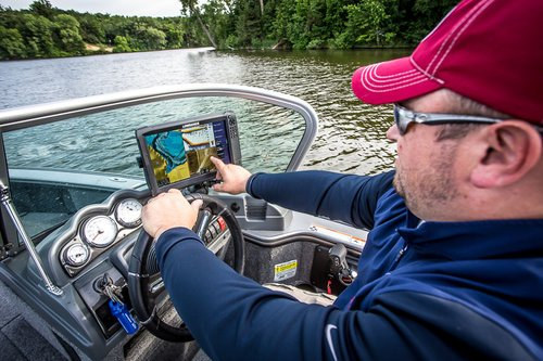 Angler Looks for Walleye on Fish Finder