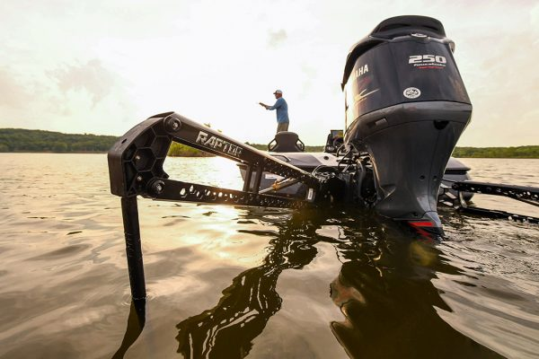 Raptor Shallow Water Anchor Deployed on Bass Boat
