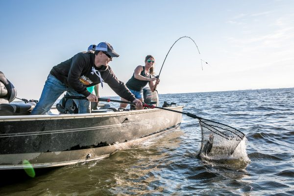 Anglers Landing Fish on Devils Lake