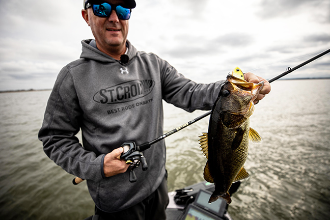 Angler with St. Croix Rod Holds Bass