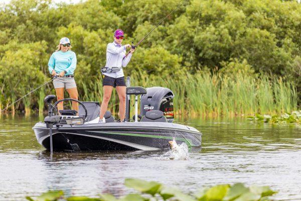 Female Anglers Fishing From Skeeter Boat