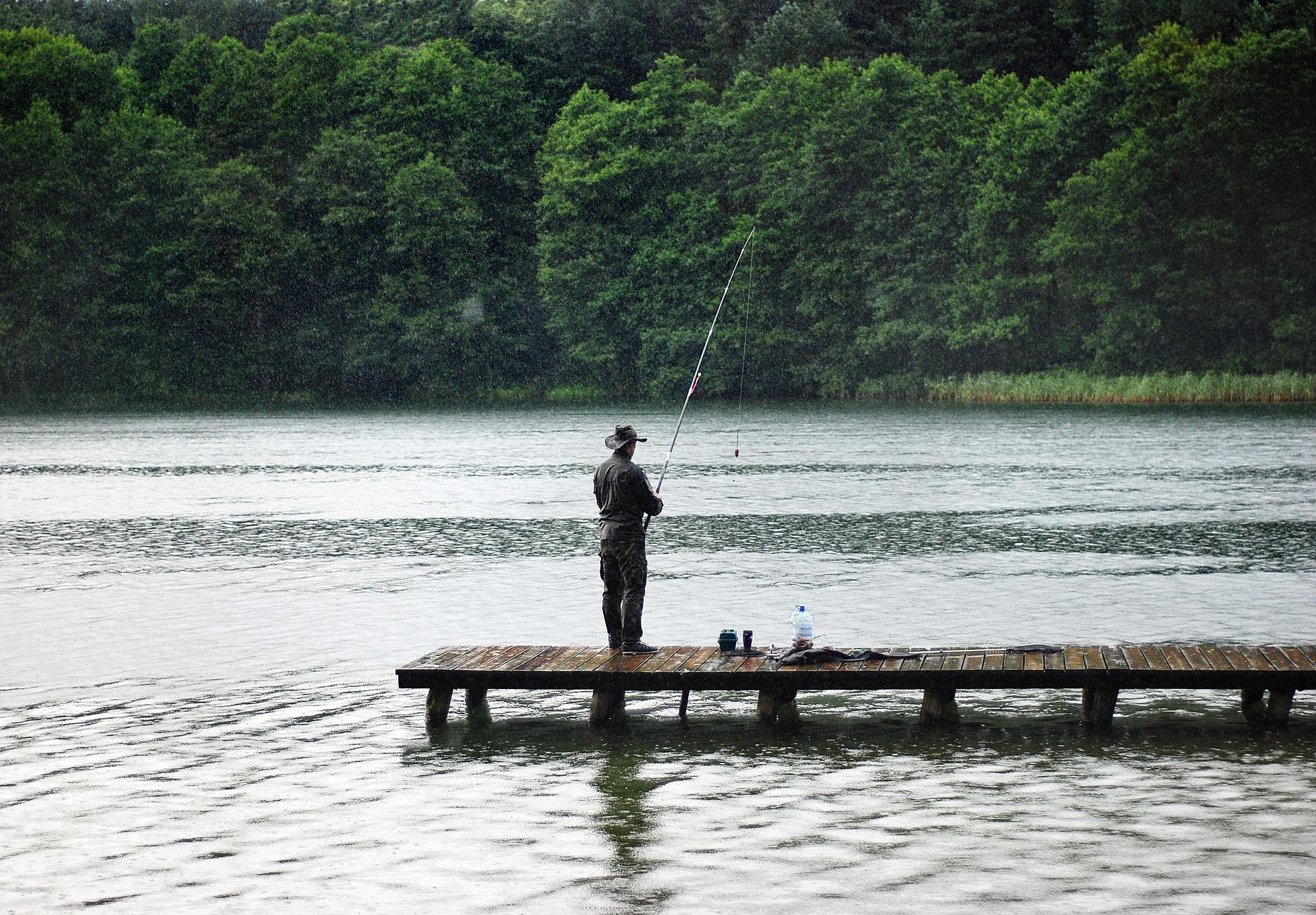 Angler on dock